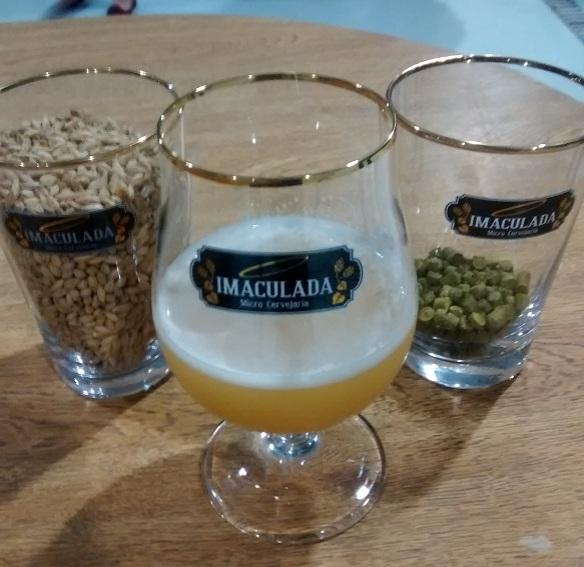 A cerveja Nella Pietra Farmhouse Ale com o malte de cevada e o lúpulo. Foto: Kelly Pelisser